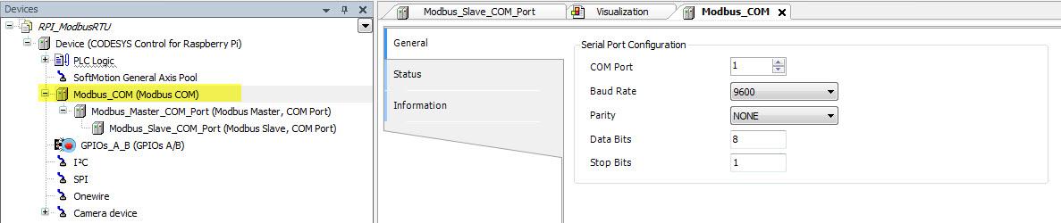 Raspberry PI 2 as PLC: Modbus RTU master (Codesys control)